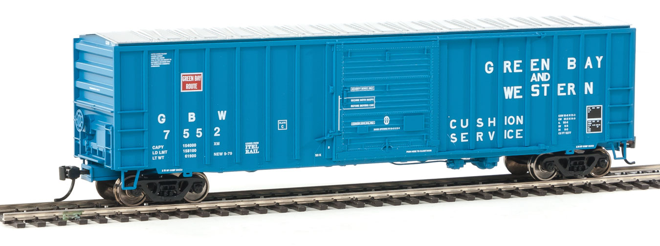 50' ACF Exterior-Post Boxcar - Ready to Run -- Green Bay & Western #7552 (blue)