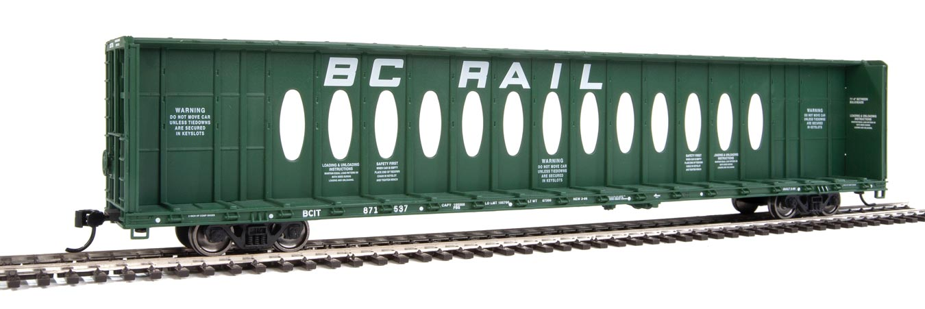 Walthers Mainline HO Scale 72' Centerbeam Flatcar with Opera Windows - Ready to Run -- BC Rail #871537