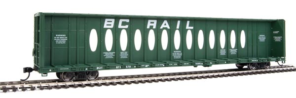 Walthers Mainline HO Scale 72' Centerbeam Flatcar with Opera Windows - Ready to Run -- BC Rail #871579