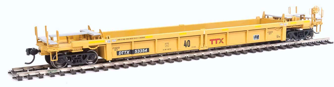 HO Thrall Rebuilt 40' Well Car - Ready to Run -- Trailer-Train DTTX #53354 (yellow, black; Large Maroon Logo)