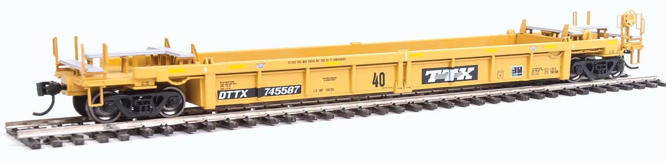 HO Thrall Rebuilt 40' Well Car - Ready to Run -- DTTX 745587 (yellow, black, black & white logo)