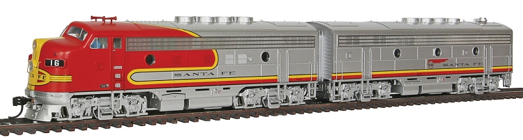 EMD F3A-B Set Moderinized 16 Class - Tsunami(R) Sound & DCC -- Santa Fe #16L, 16A (Warbonnet; silver, red; Long Bonnet Version)