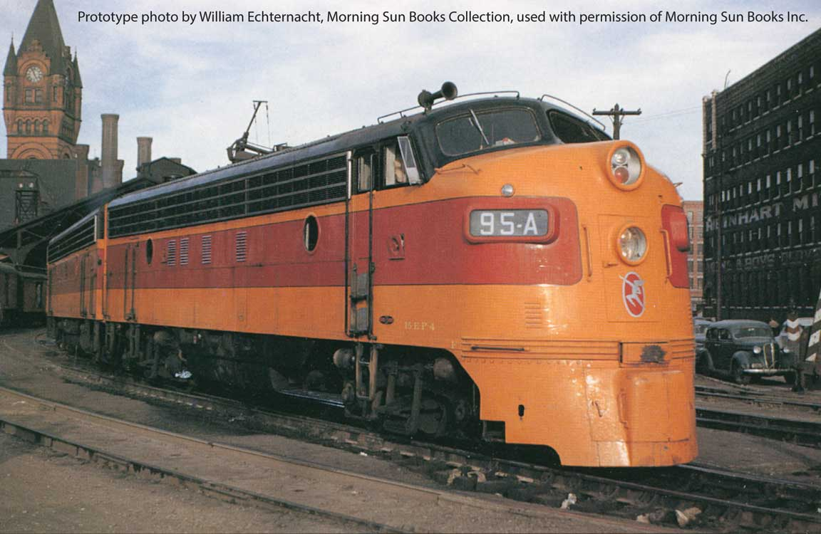 EMD FP7 LokSound 5 Sound and DCC -- Milwaukee Road #94C (early orange, maroon with Running Hiawatha logo)