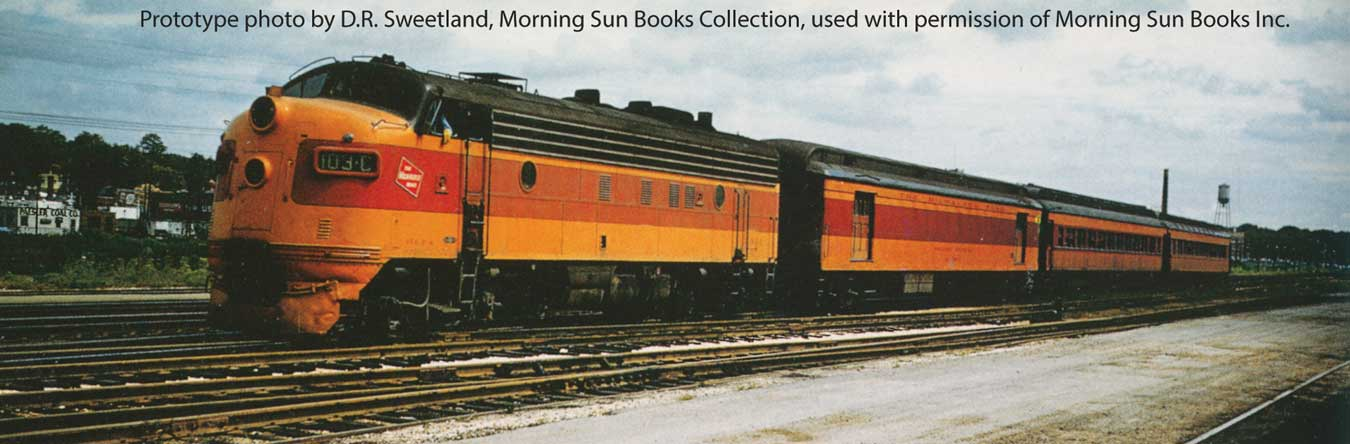 EMD FP7 LokSound 5 Sound and DCC -- Milwaukee Road #102C (modifed orange, maroon with cab logo)