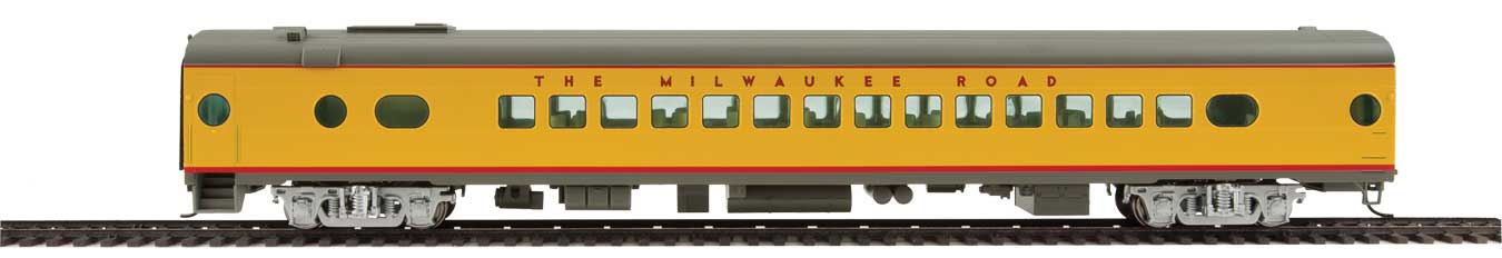 85' Milwaukee Road 30-Seat Parlor Car Valley Series - Ready to Run -- Twin Cities Hiawatha (yellow, gray, red with decals)