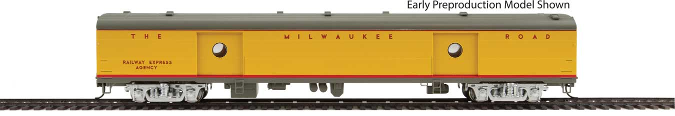75' Milwaukee Road Express Car - Ready to Run -- Twin Cities Hiawatha #1328 (yellow, gray, red)