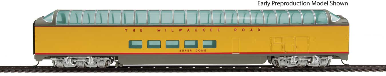 85' Pullman-Standard Super Dome - Ready to Run -- Milwaukee Road Twin Cities Hiawatha #55 (yellow, gray, red)