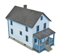 Two-Story Frame House -- Kit - 5 x 2-1/2 x 4-1/16