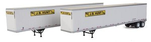 Walthers SceneMaster HO 53' Stoughton Trailer 2-Pack - Assembled -- J.B. Hunt (white, yellow, black)