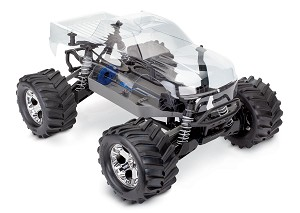 Traxxas, Stampede 4X4 Unassembled Kit: 1/10-scale 4WD Monster Truck with clear body. Radio system (transmitter, receiver, servo) and power system (ESC, motor) not included.