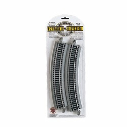 HO Curved Track w/ Nickel Silver Rail & Gray Roadbed - E-Z Track(R) -- 22