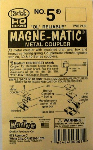 No.5(R) Knuckle Couplers - Kit - Magne-Matic(R) -- Medium 9/32