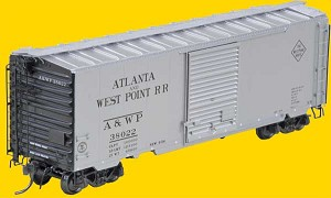 Pullman-Standard 40' PS-1 Boxcar w/8' Youngstown Door -- Atlantic & West Point #38022 (silver w/Black Ends)