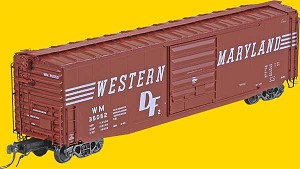 50' PS-1 Boxcar w/10' Youngstown Door & Working Cushion Underframe - Assembled -- Western Maryland (Factory-new 1965; Red Oxide w/Speed Lettering)
