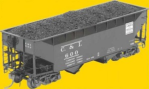 50-Ton AAR Standard Offset 2-Bay Open Hopper w/Wine Latches, Tube Card Holde -- Cambria & Indiana #600 (black)