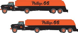 Classic Metal Works N 1954 Ford Tractor with Tank Trailer - Assembled - Mini Metals(R) -- Phillips 66 (black, orange)