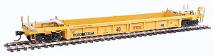 HO Thrall Rebuilt 40' Well Car - Ready to Run -- Trailer-Train DTTX #53277 (yellow, black; Large Maroon Logo)