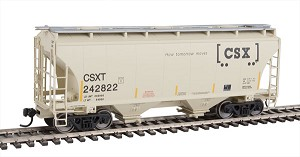 Walthers Mainline - HO 39' Trinity 3281 2-Bay Covered Hopper - Ready-to-Run -- CSX Transportation CSXT #242822 (beige; Boxcar Logo, Yellow Conspicuity Marks)