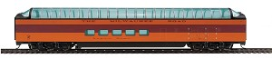 85' Pullman-Standard Super Dome - Ready to Run -- Milwaukee Road Twin Cities Hiawatha #51 (orange, maroon, black)