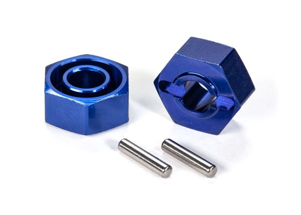 Traxxas 1654X Wheel hubs ,  hex (blue-anodized ,  lightweight aluminum) (2) /  axle pins(4)