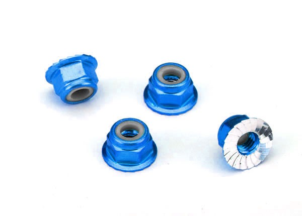 Traxxas 1747R Nuts ,  aluminum ,  flanged ,  serrated (4mm) (blue-anodized) (4)